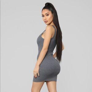 Fashion Nova Dresses - Grey Ribbed Mini Dress